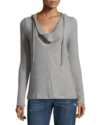 Three Dots Long Sleeve Drape Neck Hooded Sweater Granite