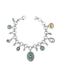 Lucky Brand Turquoise Natives Calcite And Rock Crystal Butterfly Charm Bracelet Two Tone