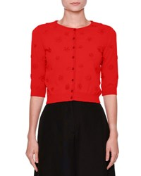 Valentino 3 4 Sleeve Daisy Knit Cardigan Red
