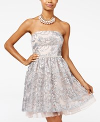 City Studios Juniors' Strapless Lace Fit And Flare Dress Blush Silver