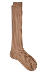 Men's Pantherella Merino Wool Blend Over The Knee Socks Dark Camel