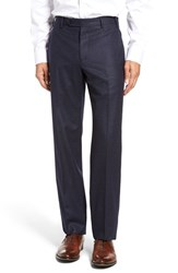 Zanella Men's Flat Front Solid Wool Trousers
