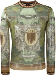 Jean Paul Gaultier Vintage Printed Sheer Top Green