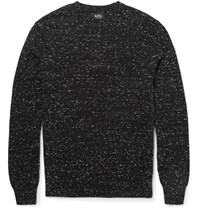 A.P.C. Slim Fit Flecked Cotton And Cashmere Blend Sweater Charcoal