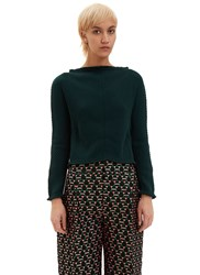 Marni Ribbed Boat Neck Open Back Sweater Green