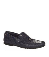 Stefano Ricci Embossed Octagon Loafer Navy