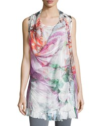 Alberto Makali Layered Floral Print Top Fuchsia Pink