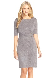 Ellen Tracy Heathered Knit Sheath Dress Taupe
