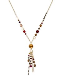 Inc International Concepts Gold Tone Beaded Tassel Necklace Only At Macy's Merlot