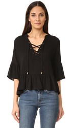 Maven West Haylee Lace Up Ruffle Top Black