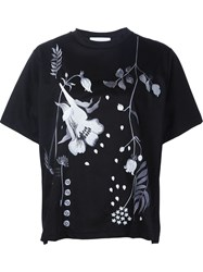 Mame Flower Embroidery T Shirt Black