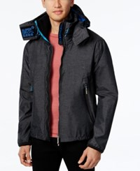 Superdry Men's Hooded Hiker Jacket Black Marl Denby Blue