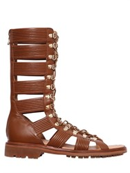 Balmain Leather High Top Gladiator Sandals