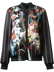 Clover Canyon All Over Floral Print Bomber Jacket Black