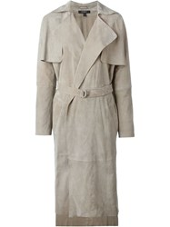 Muubaa Goat Skin Trench Coat Nude And Neutrals