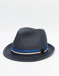 Fred Perry Straw Trilby Hat Navy Blue