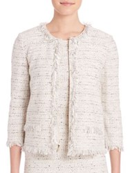 St. John Wool Blend Zipper Jacket Putty Multi