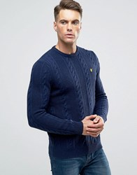 Lyle And Scott Crew Cable Knit Jumper Lambswool In Navy Navy