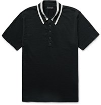 Burberry Slim Fit Striped Collar Knitted Wool Blend Polo Shirt Black