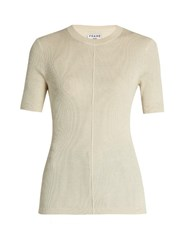 Frame Classic Silk And Cashmere Blend Top Ivory