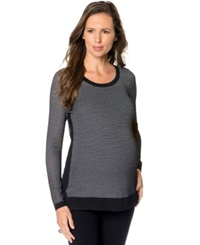 A Pea In The Pod Maternity Textured High Low Sweater Black
