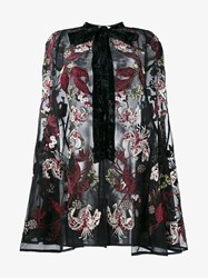Erdem Sheer Silk Floral Embroidered Cape Multi Coloured White Black