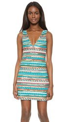 Alice Olivia Venetia Beaded V Neck Dress Multi