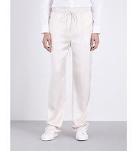 Jil Sander Cyrius Straight Mid Rise Silk Satin Trousers Open White