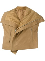 Rick Owens Short Sleeve Biker Jacket Brown