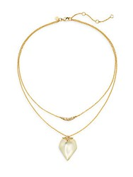 Alexis Bittar Lucite And Swarovski Crystal Double Layered Pendant Necklace Ivory