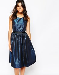 Helene Berman V Back Prom Dress In Blue Metallic Fabric