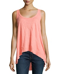 W By Wilt Paneled Slub Knit Slouchy Tank Salmon