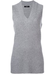 Steffen Schraut Ribbed Long Length Vest Grey