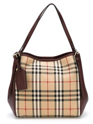 Burberry Small 'Canter In Horseferry Check' Tote Bag Nude And Neutrals