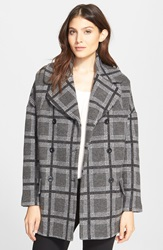 Joie 'Falotte' Oversize Check Wool Blend Coat Heather Grey Combo