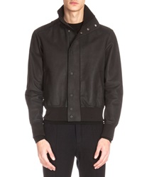 Berluti Leather Bomber Jacket Black