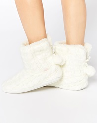 Totes Knitted Bootie Slippers Cream