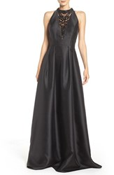 Adrianna Papell Women's Embellished Mesh And Mikado Ballgown