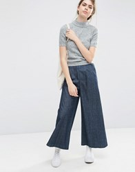 Asos Textured Denim Wide Leg Trousers Darkwash Blue