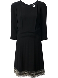Azzaro Pleated Shift Dress Black