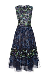 Oscar De La Renta Floral A Line Dress Black
