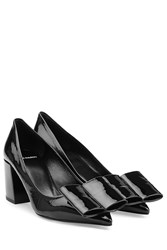 Pierre Hardy Patent Leather Kitten Heels With Statement Bow Black