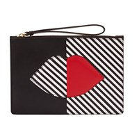 Lulu Guinness Grace Leather Pouch Clutch Bag Black White
