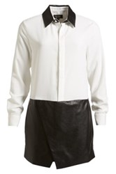 Izzue Crepe And Faux Leather Shirtdress Women White