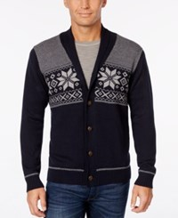 Weatherproof Vintage Men's Snowflake Cardigan Only At Macy's Navy