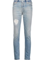 Re Done Destroyed Skinny Jeans Blue