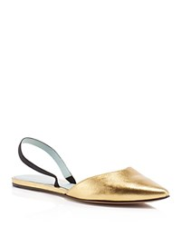 Marc Jacobs Joline Metallic Slingback Pointed Toe Flats Gold