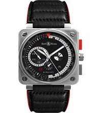 Bell And Ross Br0397 Bl Si Sca Aviation Steel And Leather Watch Black