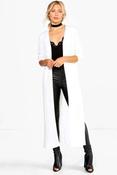 Boohoo Side Split Maxi Cardigan Cream