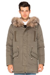 Yves Salomon Hooded Parka With Green Rabbit And Blue Frost Fox Fur Olive